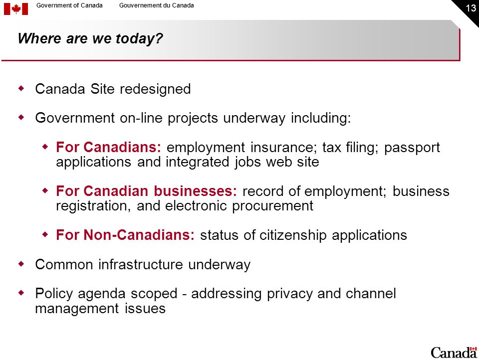 13 Government of CanadaGouvernement du Canada Where are we today.