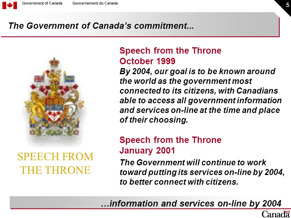 16 Government of CanadaGouvernement du Canada