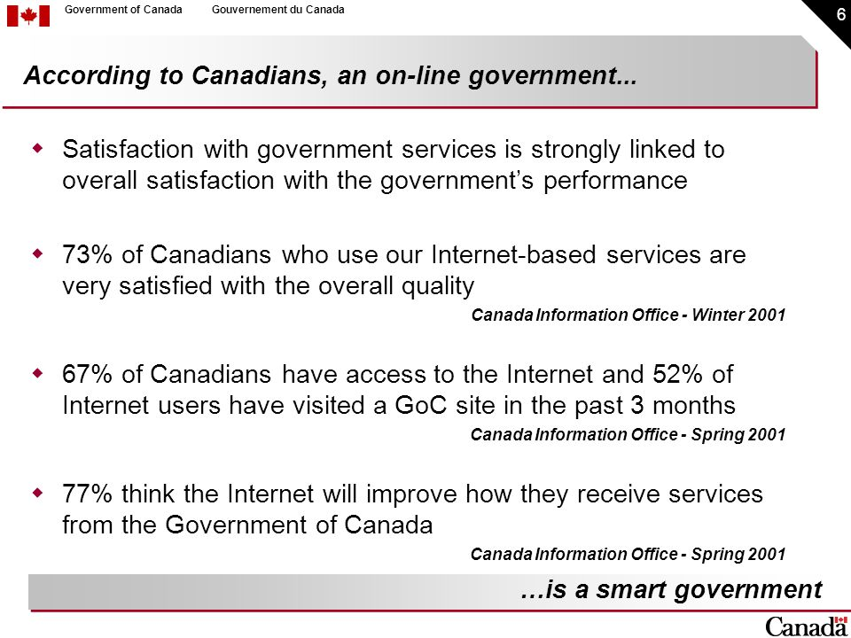 6 Government of CanadaGouvernement du Canada  Satisfaction with government services is strongly linked to overall satisfaction with the government's performance  73% of Canadians who use our Internet-based services are very satisfied with the overall quality Canada Information Office - Winter 2001  67% of Canadians have access to the Internet and 52% of Internet users have visited a GoC site in the past 3 months Canada Information Office - Spring 2001  77% think the Internet will improve how they receive services from the Government of Canada Canada Information Office - Spring 2001 According to Canadians, an on-line government...