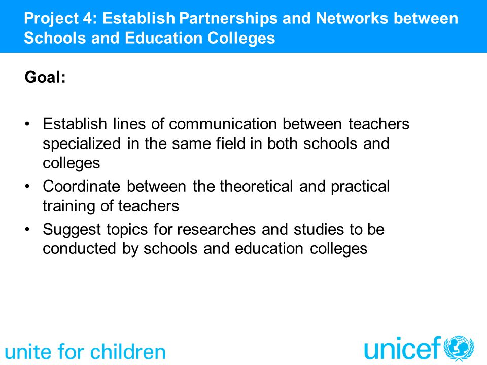 Goal: Establish lines of communication between teachers specialized in the same field in both schools and colleges Coordinate between the theoretical