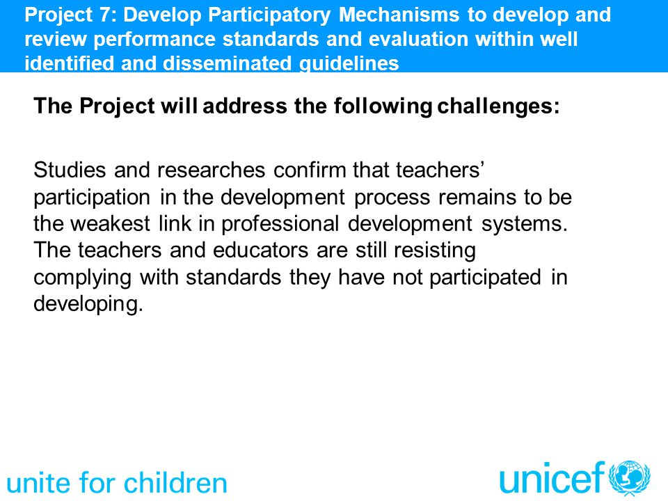 The Project will address the following challenges: Studies and researches confirm that teachers' participation in the development process remains to b