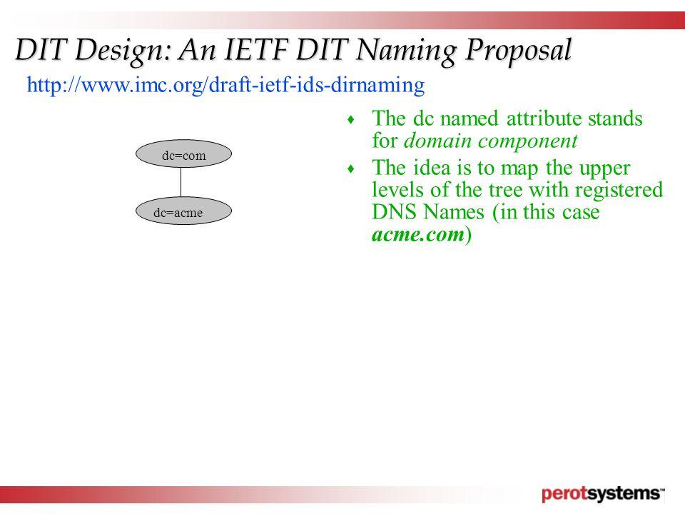 dc=com dc=acme http://www.imc.org/draft-ietf-ids-dirnaming DIT Design: An IETF DIT Naming Proposal  The dc named attribute stands for domain component  The idea is to map the upper levels of the tree with registered DNS Names (in this case acme.com)