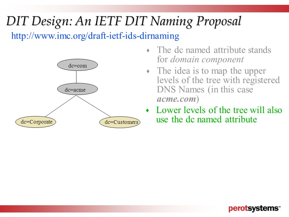 dc=com dc=acme dc=Corporate dc=Customers http://www.imc.org/draft-ietf-ids-dirnaming DIT Design: An IETF DIT Naming Proposal  The dc named attribute stands for domain component  The idea is to map the upper levels of the tree with registered DNS Names (in this case acme.com)  Lower levels of the tree will also use the dc named attribute