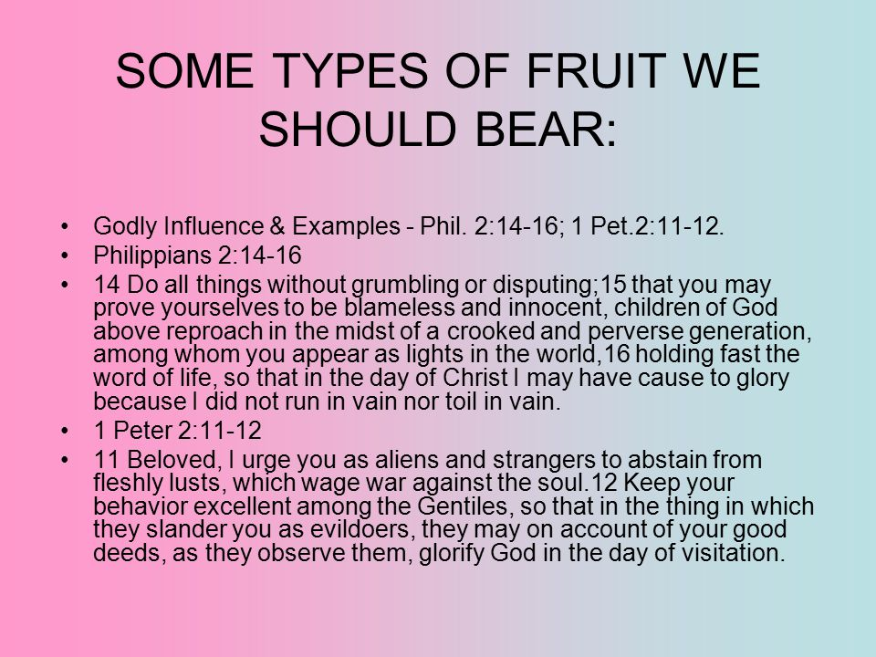 SOME TYPES OF FRUIT WE SHOULD BEAR: Godly Influence & Examples - Phil. 2:14-16; 1 Pet.2:11-12. Philippians 2:14-16 14 Do all things without grumbling
