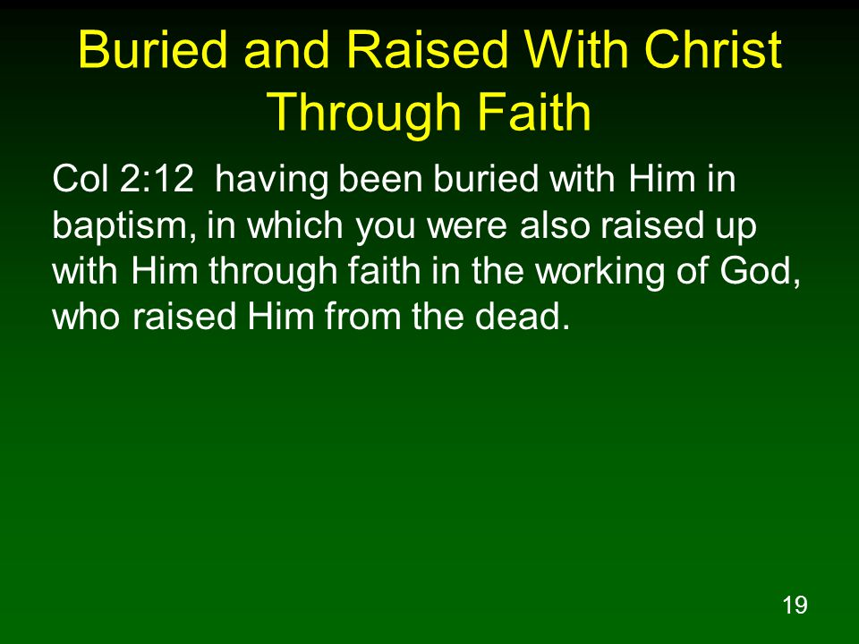 19 Buried and Raised With Christ Through Faith Col 2:12 having been buried with Him in baptism, in which you were also raised up with Him through faith in the working of God, who raised Him from the dead.