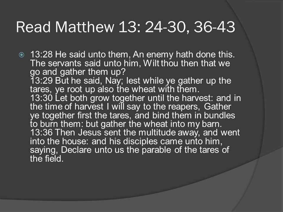 Read Matthew 13: 24-30, 36-43  13:37 He answered and said unto them, He that soweth the good seed is the Son of man; 13:38 The field is the world; the good seed are the children of the kingdom; but the tares are the children of the wicked [one]; 13:39 The enemy that sowed them is the devil; the harvest is the end of the world; and the reapers are the angels.