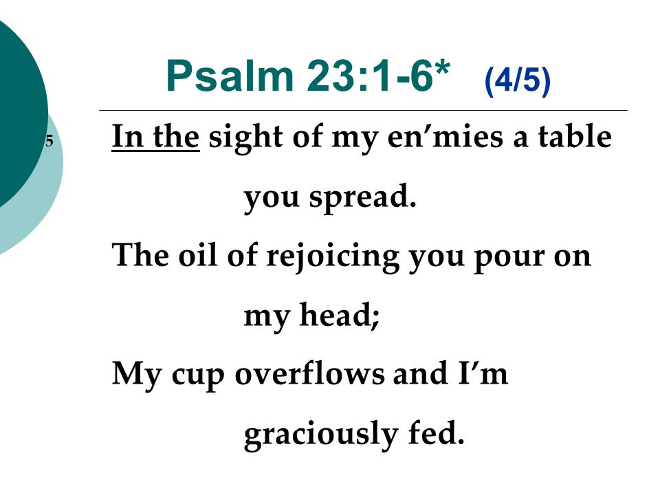 Psalm 23:1-6* (4/5) 5 In the sight of my en'mies a table you spread.