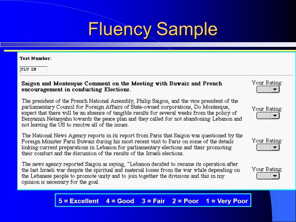 Fluency Sample 5 = Excellent 4 = Good 3 = Fair 2 = Poor 1 = Very Poor