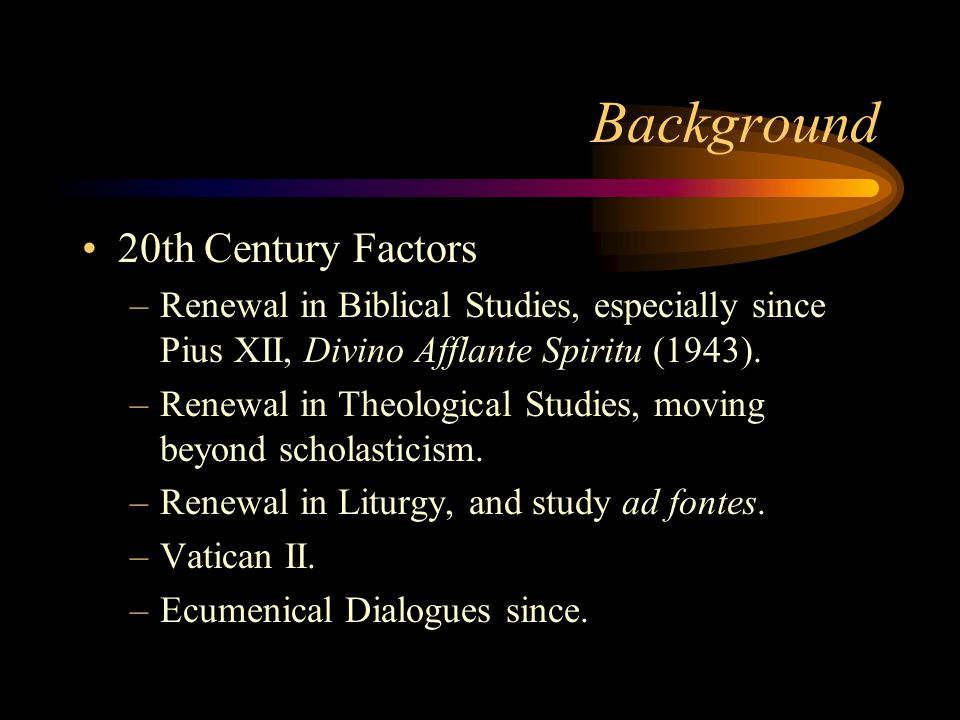 Background 16th Century Reformation Division –Diversity of Theological Perspectives (Luther  Calvin  Zwingli  Anabaptists) 1999 agreement only with Lutherans –Spiritual aspects –Political aspects Mutual Condemnations –Council of Trent (1547) –Formula of Concord (1577)