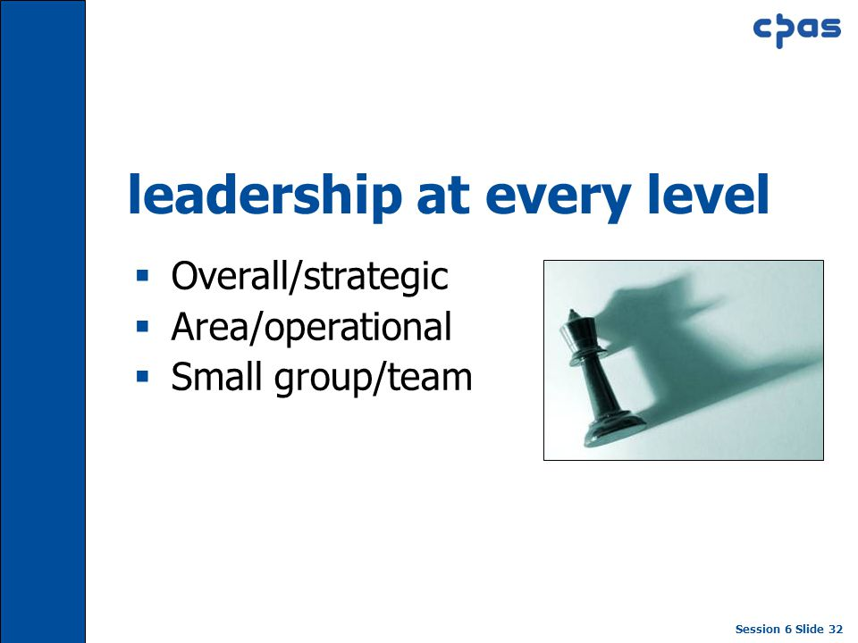 Session 6 Slide 32 leadership at every level  Overall/strategic  Area/operational  Small group/team