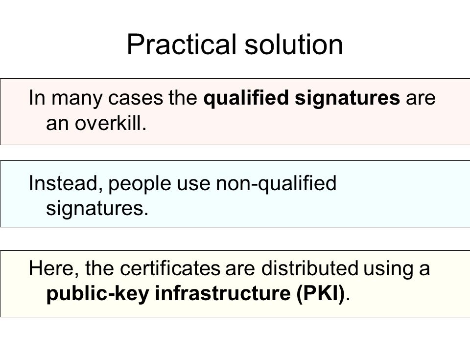 Practical solution In many cases the qualified signatures are an overkill.