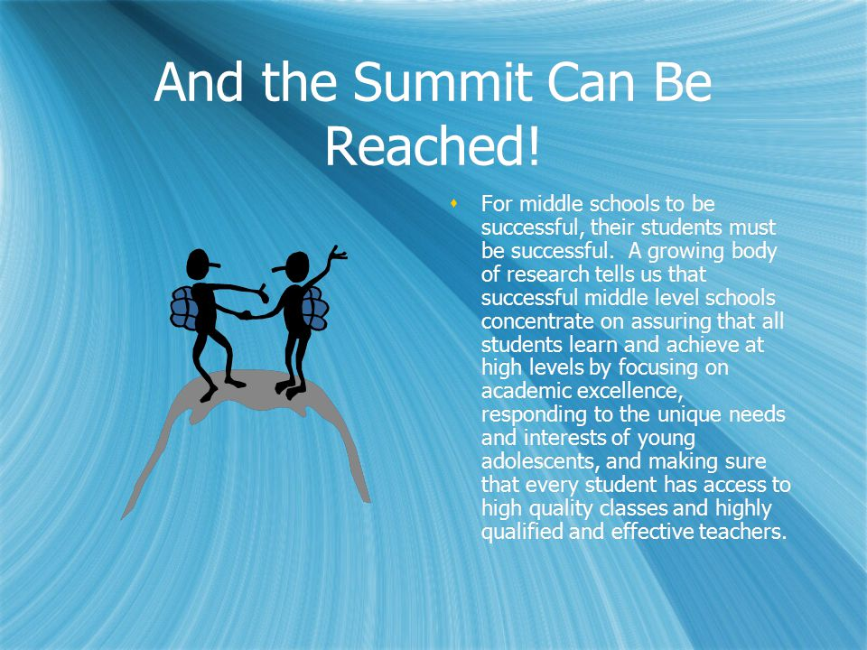 And the Summit Can Be Reached.