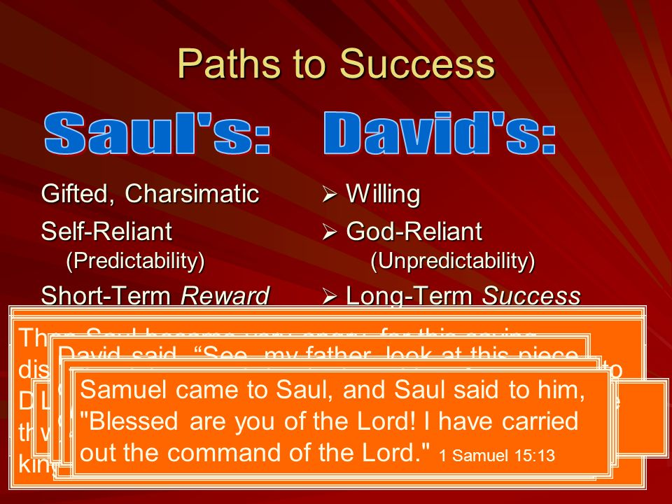 Paths to Success Gifted, Charsimatic Self-Reliant (Predictability) Short-Term Reward Self-Protective  Willing  God-Reliant (Unpredictability)  Long