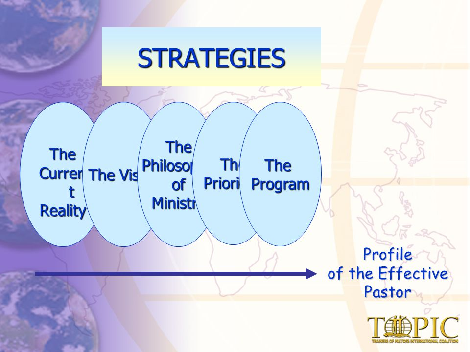 The Curren t Reality The Vision ThePhilosophyofMinistryThePrioritiesTheProgram Profile of the Effective Pastor STRATEGIES