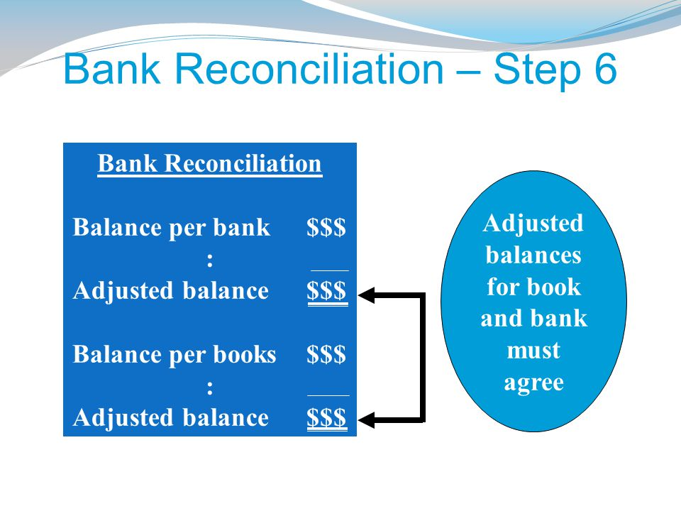 Bank Reconciliation – Step 6 Use the information collected in steps 1 through 5 to prepare the bank reconciliation.