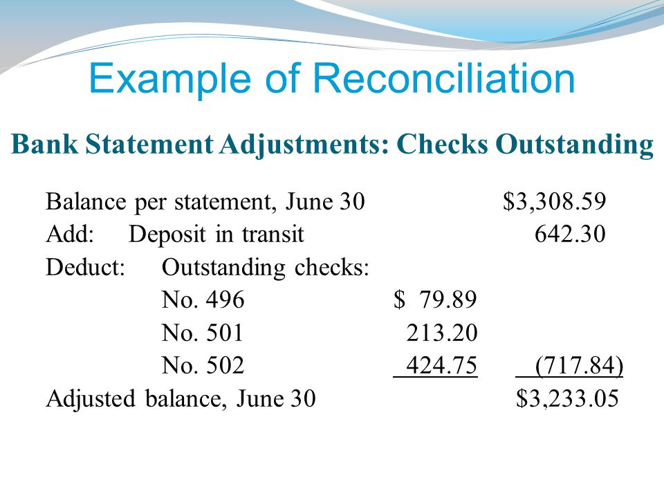 Example of Reconciliation Bank Statement Adjustments: Checks Outstanding Balance per statement, June 30 $3,308.59 Add: Deposit in transit 642.30 Deduct: Outstanding checks: No.