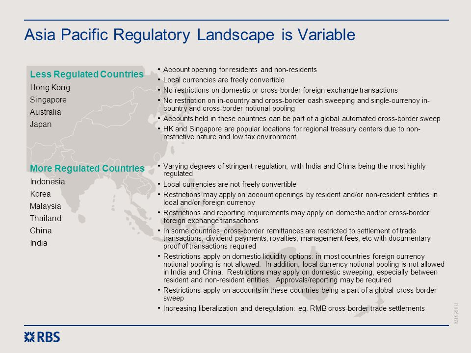 RBS58178 Asia Pacific Regulatory Landscape is Variable Account opening for residents and non-residents Local currencies are freely convertible No rest