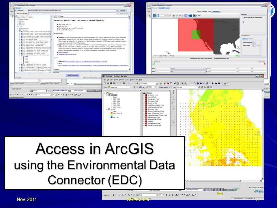 Nov. 201117 Access in ArcGIS using the Environmental Data Connector (EDC) NOAA/UAF