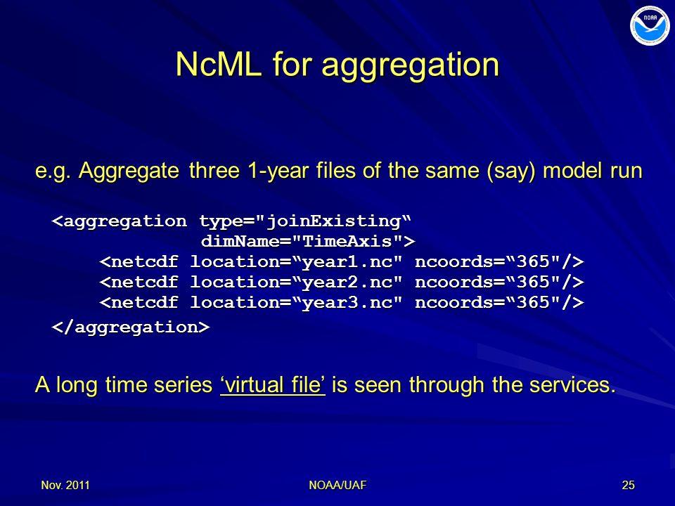 Nov. 201125 NcML for aggregation e.g.
