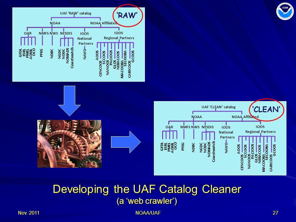 Developing the UAF Catalog Cleaner (a 'web crawler') Nov.