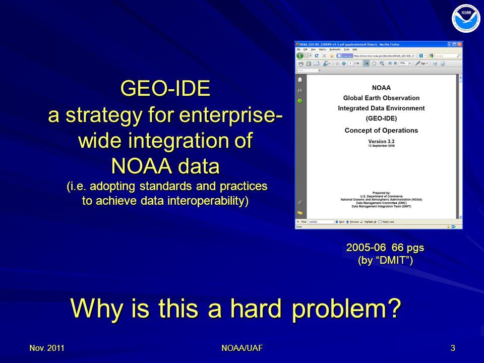 Nov. 20113 GEO-IDE a strategy for enterprise- wide integration of NOAA data (i.e.