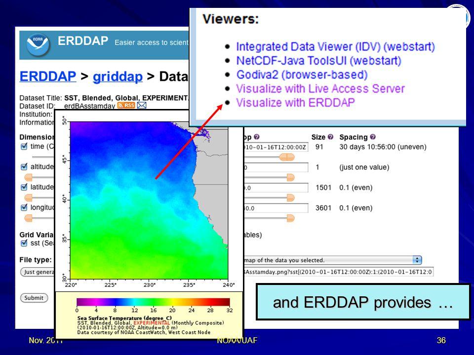 Nov. 201136 and ERDDAP provides … NOAA/UAF