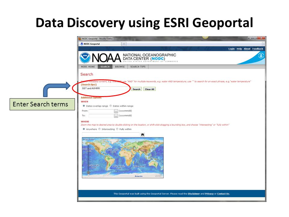 Enter Search terms Data Discovery using ESRI Geoportal