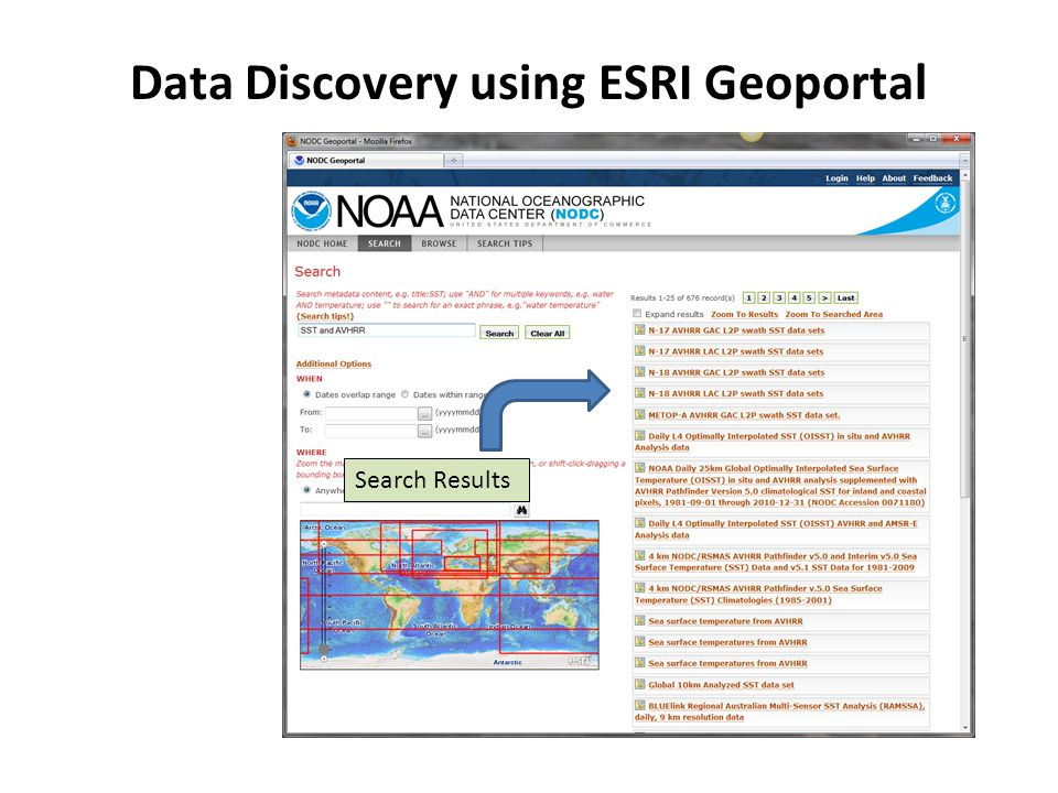Search Results Data Discovery using ESRI Geoportal