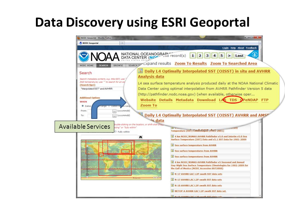 Available Services Data Discovery using ESRI Geoportal