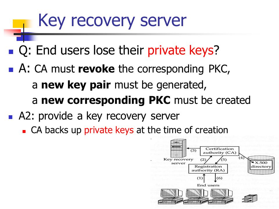 Key recovery server Q: End users lose their private keys? A: CA must revoke the corresponding PKC, a new key pair must be generated, a new correspondi