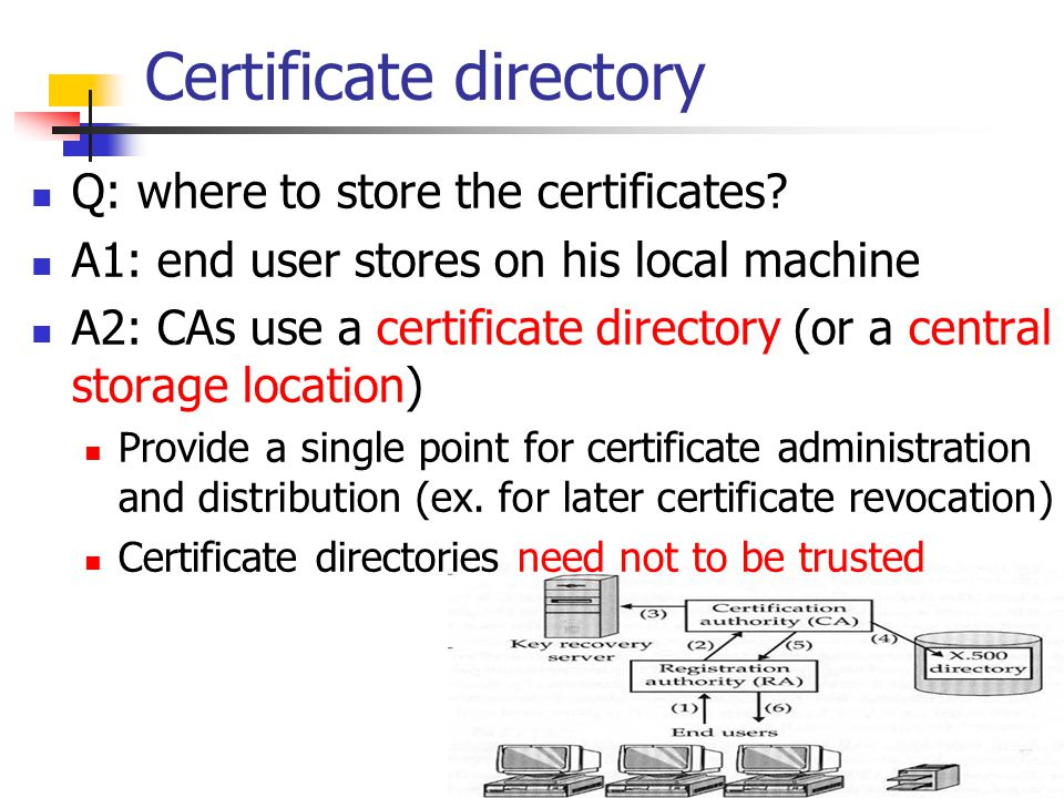Certificate directory Q: where to store the certificates? A1: end user stores on his local machine A2: CAs use a certificate directory (or a central s