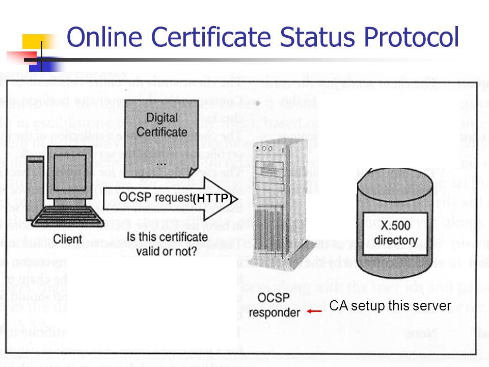 Online Certificate Status Protocol (HTTP) CA setup this server
