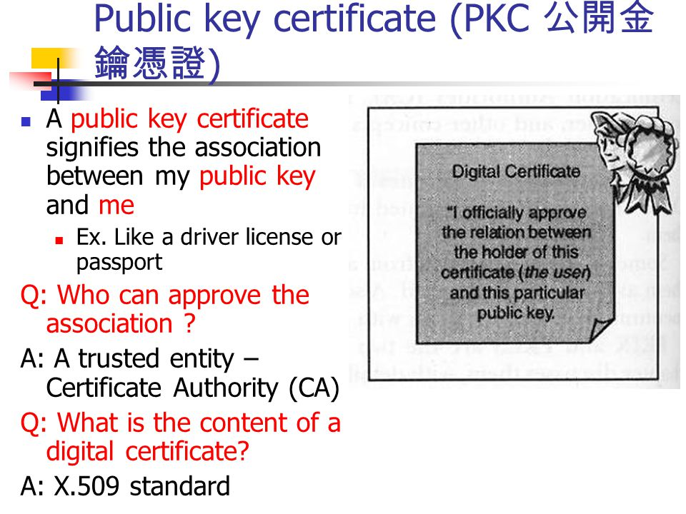 Public key certificate (PKC 公開金 鑰憑證 ) A public key certificate signifies the association between my public key and me Ex. Like a driver license or pas