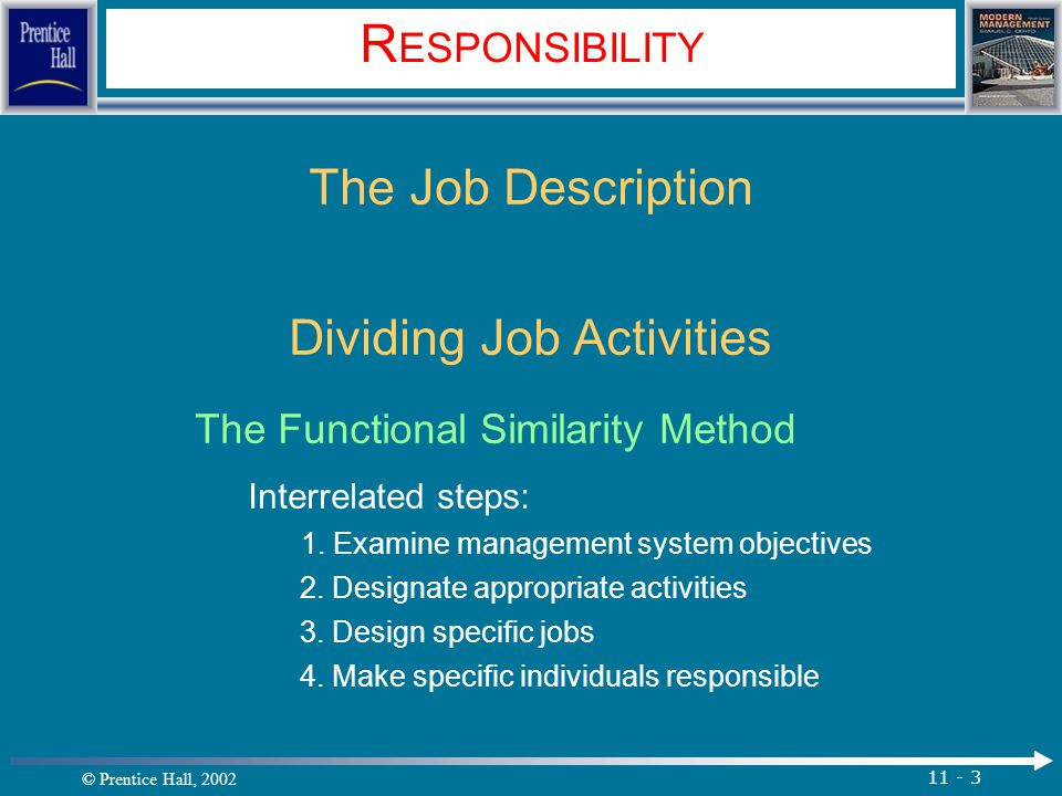 © Prentice Hall, 2002 11 - 3 R ESPONSIBILITY The Job Description Dividing Job Activities The Functional Similarity Method Interrelated steps: 1.