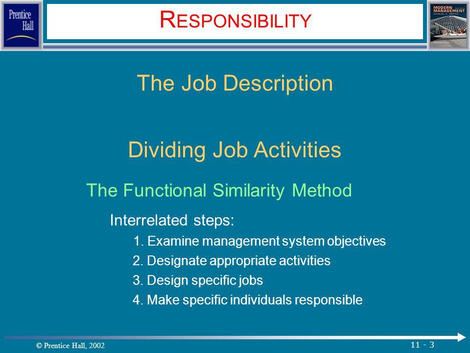© Prentice Hall, 2002 11 - 14 D ELEGATION Steps in the Delegation Process Obstacles to the Delegation Process 1.