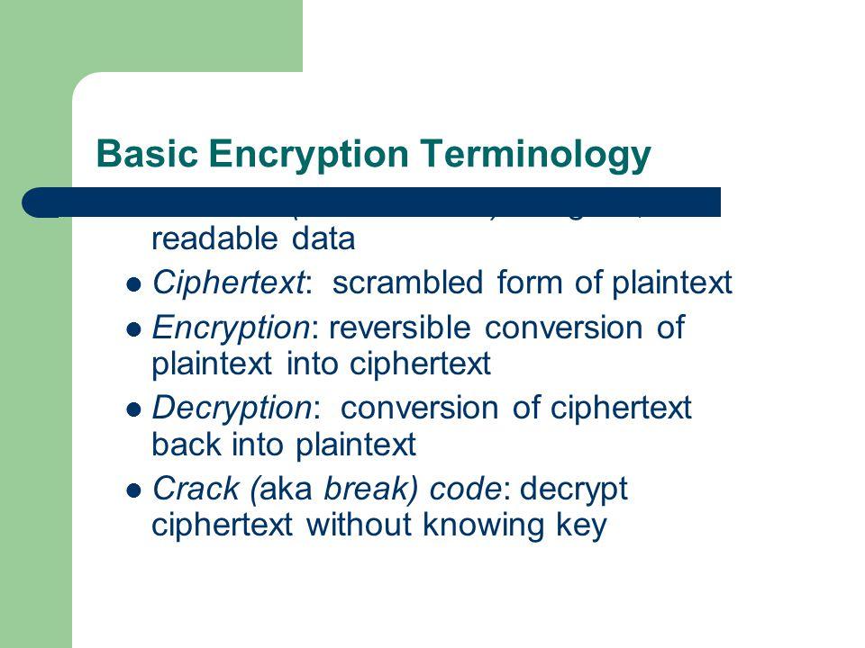 Basic Encryption Terminology Plaintext (aka cleartext): original, readable data Ciphertext: scrambled form of plaintext Encryption: reversible conversion of plaintext into ciphertext Decryption: conversion of ciphertext back into plaintext Crack (aka break) code: decrypt ciphertext without knowing key