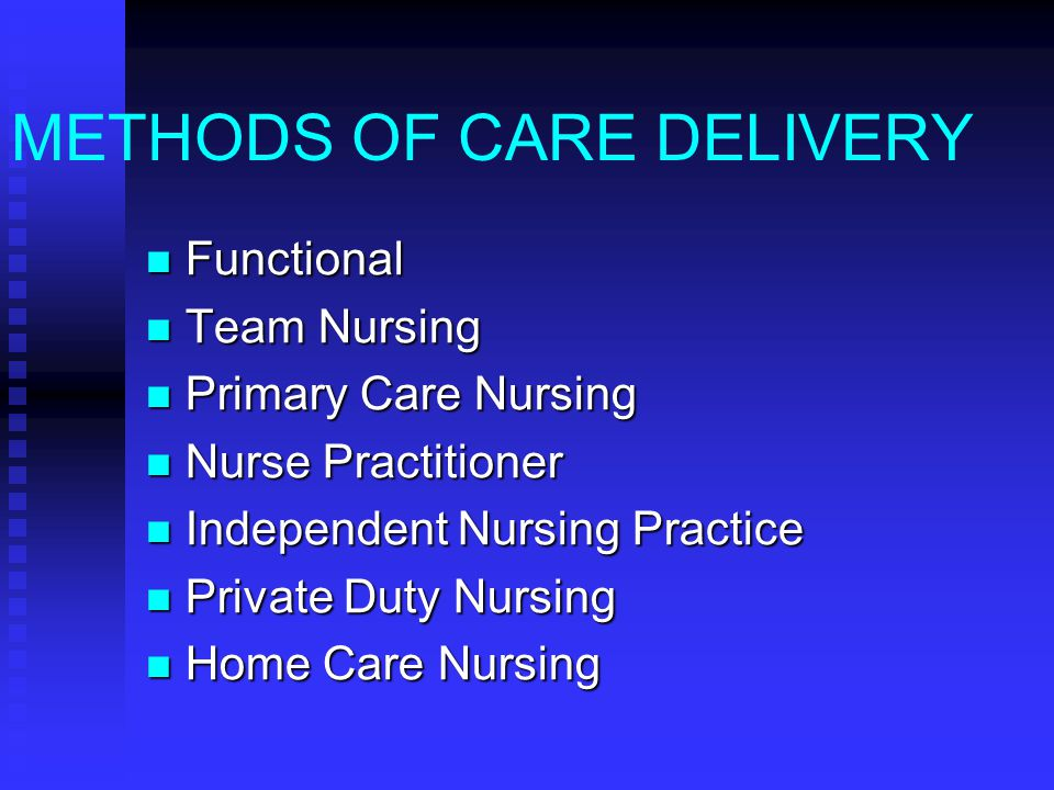 METHODS OF CARE DELIVERY Functional Functional Team Nursing Team Nursing Primary Care Nursing Primary Care Nursing Nurse Practitioner Nurse Practition