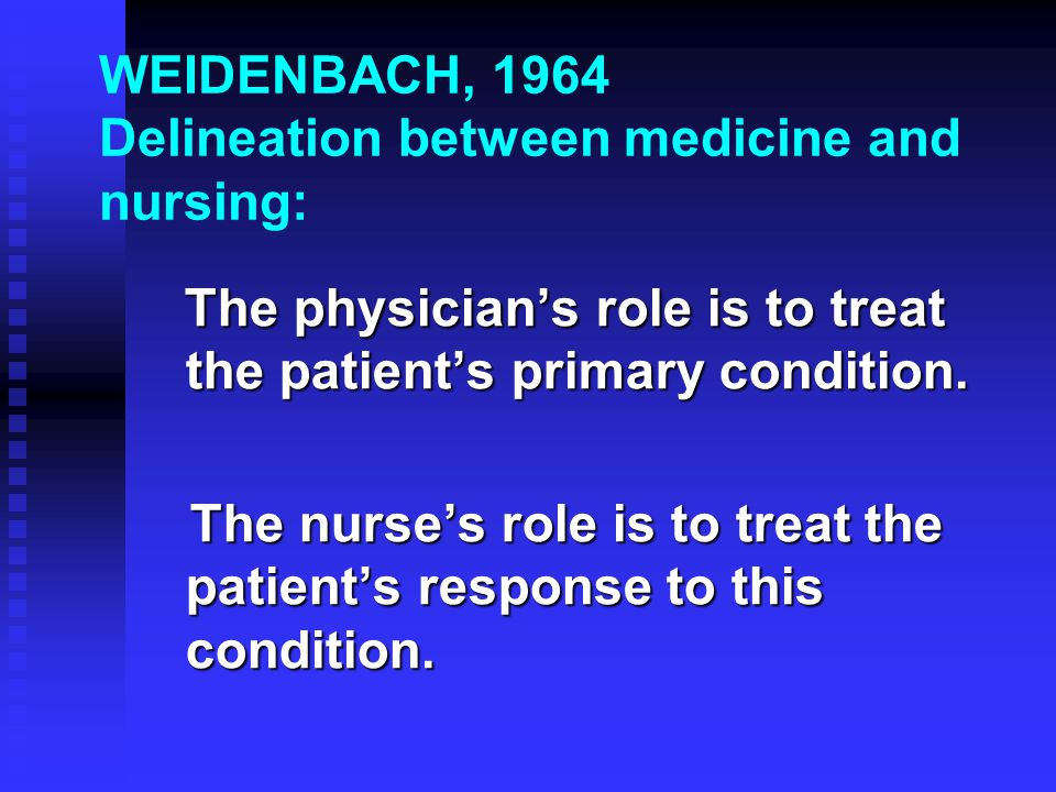 WEIDENBACH, 1964 Delineation between medicine and nursing: The physician's role is to treat the patient's primary condition.