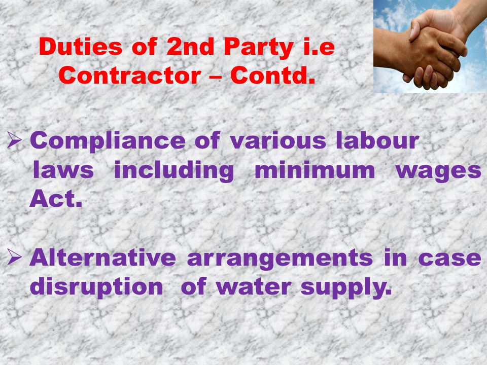  Compliance of various labour laws including minimum wages Act.