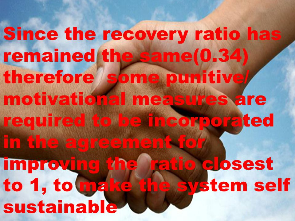 Since the recovery ratio has remained the same(0.34) therefore some punitive/ motivational measures are required to be incorporated in the agreement for improving the ratio closest to 1, to make the system self sustainable