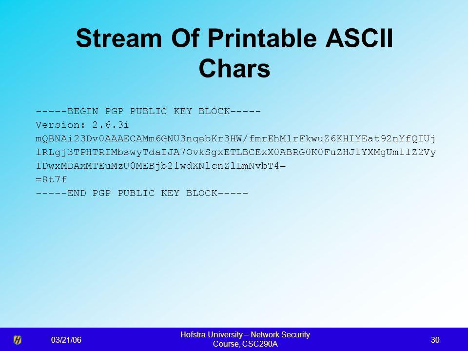 03/21/06 Hofstra University – Network Security Course, CSC290A 30 Stream Of Printable ASCII Chars -----BEGIN PGP PUBLIC KEY BLOCK----- Version: 2.6.3i mQBNAi23Dv0AAAECAMm6GNU3nqebKr3HW/fmrEhMlrFkwuZ6KHIYEat92nYfQIUj lRLgj3TPHTRIMbswyTdaIJA7OvkSgxETLBCExX0ABRG0K0FuZHJlYXMgUmllZ2Vy IDwxMDAxMTEuMzU0MEBjb21wdXNlcnZlLmNvbT4= =8t7f -----END PGP PUBLIC KEY BLOCK-----
