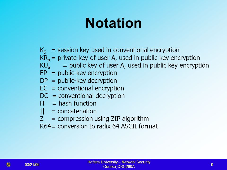 03/21/06 Hofstra University – Network Security Course, CSC290A 9 Notation K S = session key used in conventional encryption KR a = private key of user A, used in public key encryption KU a = public key of user A, used in public key encryption EP = public-key encryption DP = public-key decryption EC = conventional encryption DC = conventional decryption H = hash function || = concatenation Z = compression using ZIP algorithm R64= conversion to radix 64 ASCII format