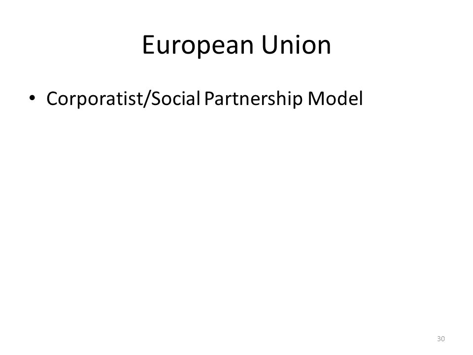 European Union Corporatist/Social Partnership Model 30