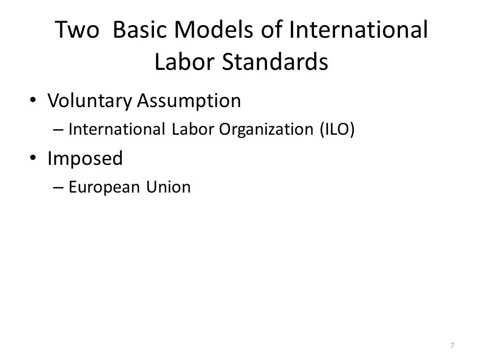 8 ILO A tripartite organization created in 1919 to address labor conditions throughout the world Initially part of League of Nations Transferred to UN when UN created after WWII Membership consists of countries Each member country may send labor, management, government delegates to ILO