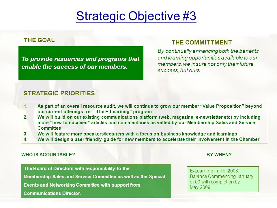 Strategic Objective #3 To provide resources and programs that enable the success of our members.