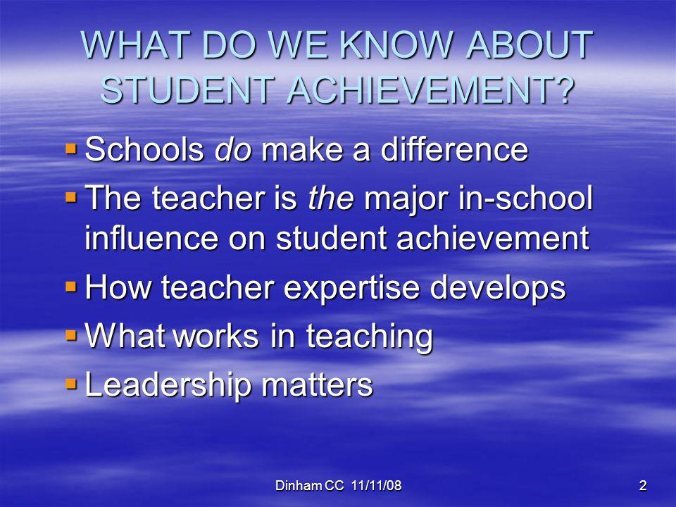 Dinham CC 11/11/082 WHAT DO WE KNOW ABOUT STUDENT ACHIEVEMENT.