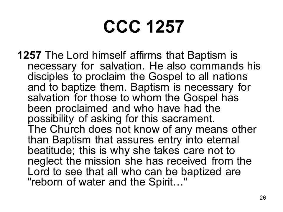 26 CCC 1257 1257 The Lord himself affirms that Baptism is necessary for salvation.