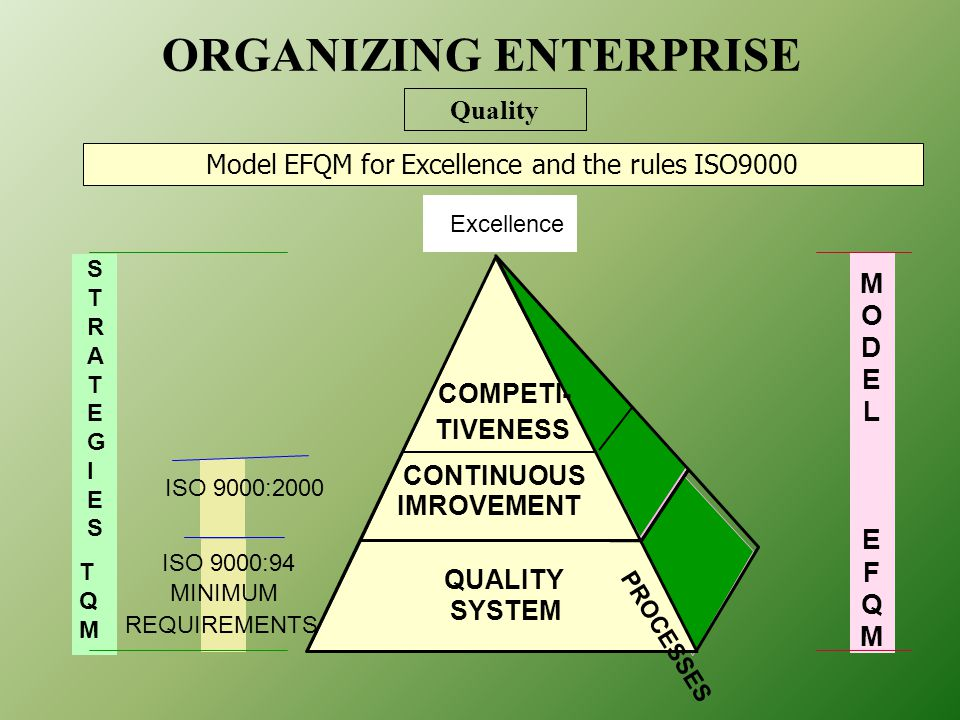 QUALITY SYSTEM CONTINUOUS IMROVEMENT M O D E L E F Q M Excellence STRATEGIESSTRATEGIES TQMTQM ISO 9000:94 MINIMUM REQUIREMENTS PROCESSES COMPETI- TIVENESS ISO 9000:2000 Model EFQM for Excellence and the rules ISO9000 ORGANIZING ENTERPRISE Quality