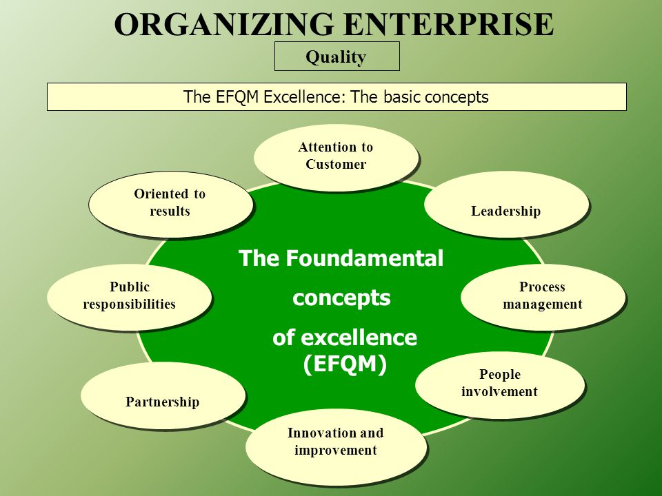 The Foundamental concepts of excellence (EFQM) Oriented to results Attention to Customer Leadership Process management People involvement Innovation and improvement Partnership Public responsibilities The EFQM Excellence: The basic concepts ORGANIZING ENTERPRISE Quality