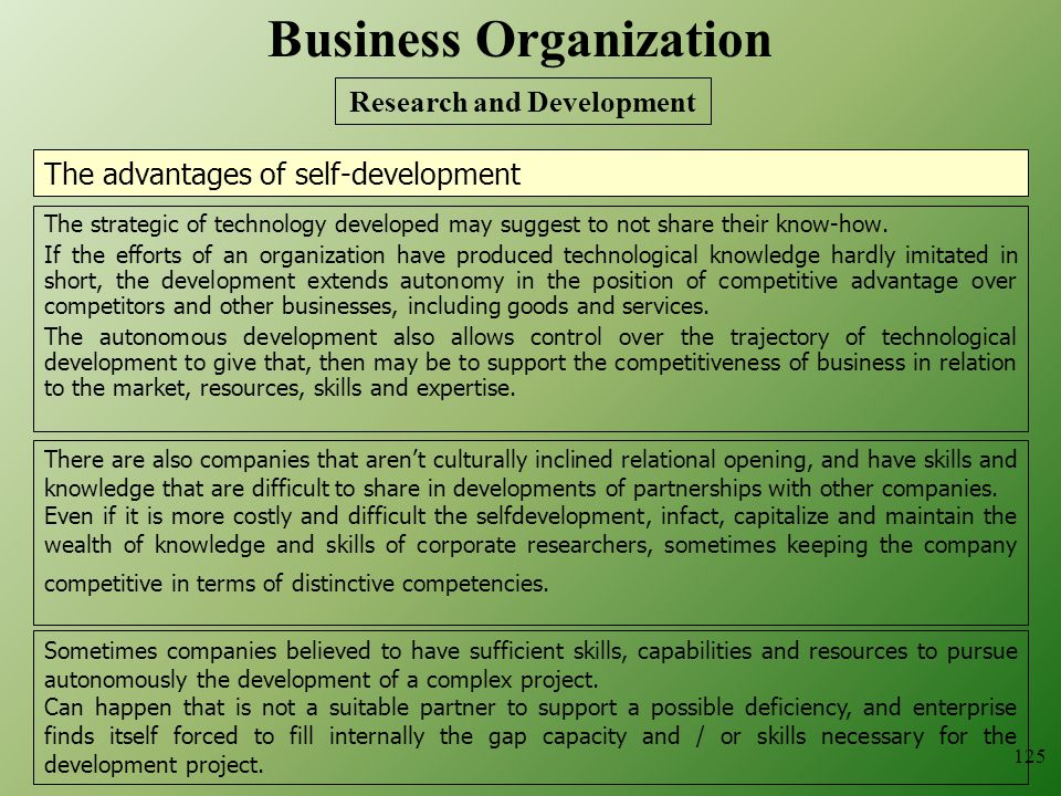125 The advantages of self-development The strategic of technology developed may suggest to not share their know-how.